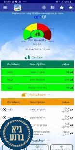 אוויר בסביבה - אפליקציה לבדיקת איכות האוויר בזמן אמת באזור המגורים
